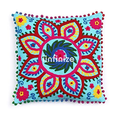 iinfinize - Funda de cojín con Bordado uzbeko de la India Suzani de 40,6 cm, Cuadrada, con Pompones, Decorativos, para sofá, con Cierre de Cremallera, Estilo Hippie, decoración para el hogar