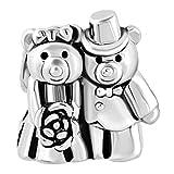 Uniqueen - Abalorio con diseño de pareja de osos con ramo de novia