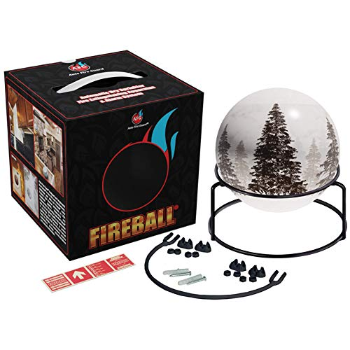 AFG Fireball-Fire Extinguisher Ball: Forest Design, Decorative, Automatic Fire Extinguisher, with Mount, Adhesive Glow-in-the-Dark Sign and User Manual