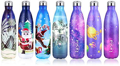 Grsta Botella Agua, 750ml Botella Agua Acero Inoxidable sin BPA Pared Completa Botellas de Frío/Caliente Termo Botellas Termica Prueba de Fugas para Niños, Adultos, Deporte, Yoga, Ciclismo