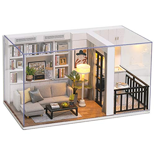 TOYROOM DIY Miniature Dollhouse Kits Adults Wooden Mini Furniture Collections Home Decoration Mini Dollhouse Kit Gift for Boys Teens with Dust Proof Cover