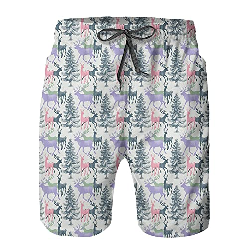 Mens Swim Trunks Quick Dry Beachwear Sports Running Board Shorts with Mesh Lining and Pockets,Pine Trees with Animals Antlers Winter Season December Christmas Themed Illustration Beach Pants,L