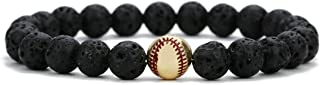 Linsoir Beads Trendy Baseball Bracelet Lava Stone/White Howlite/Matte Black Stone Beaded Bracelet Sports Jewelry for Boy G...