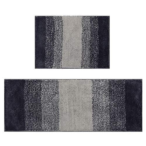 U'Artlines Microfibra Tappeto Salotto,Tappeto Cucina Antiscivolo Lavabile per Bagno Grigio Ombre 45 * 65+45 * 120 cm