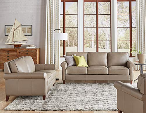 Hydeline Laguna 100% Leather Sofa, Loveseat and Chair Set, Taupe