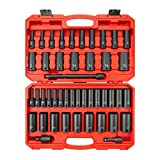 TEKTON 1/2 Inch Drive Deep 6-Point Impact Socket Set, 45-Piece (5/16-1-1/4 in, 8-32 mm) | SID92404