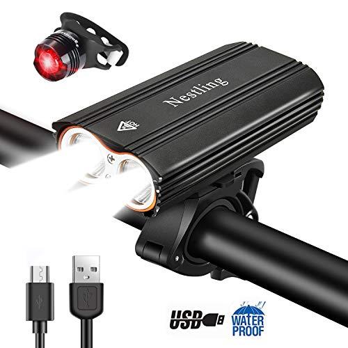 Nestling®Luz Bicicleta,Luz Bicicleta LED Recargable USB con 4 Modos 2400 Lúmenes IP65 Impermeable, Linterna Bicicleta con Luz Bicicleta Delantera y Trasera, Luz Bicicleta para Carretera y Montaña