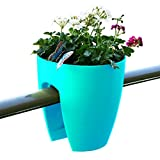 Greenbo Deck Rail Planter Box with Drainage trays, round 12-Inch, Color Turquoise