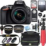 Nikon D5600 24.2MP DX-Format Digital SLR Camera with AF-P 18-55mm f/3.5-5.6G VR Lens Kit Bundle with 32GB Memory Card, Bag, Flash, Remote, Filter Kit and Accessories (11 Items)