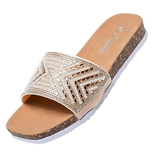 Jomix Ciabatte Donna Estive Comode Pantofole Elegante Sandali a Punta Aperta con Decorazioni Strass SD2106 (Rose Gold, 37)