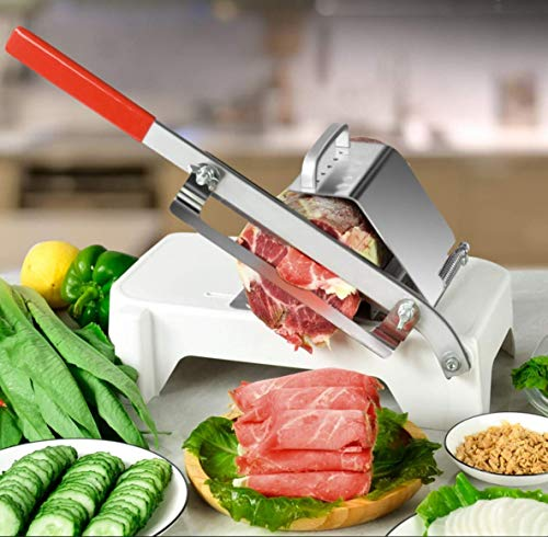 Light Manual Meat Slicer, Stainless Steel Meat Cutter Lamb Beef Mutton Roll Meat Cheese Food Slicer Vegetable Sushi Sheet Slicing Machine for Home Cooking Kit of Hot Pot with Spare Blade