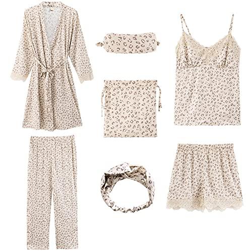 XFLOWR Camicia da Notte Loungewear 7 Pezzi Donne Pigiama Set Morbido Pigiama Primavera Autunno Femminile Solido Poliestere Pantaloncini M Y57703