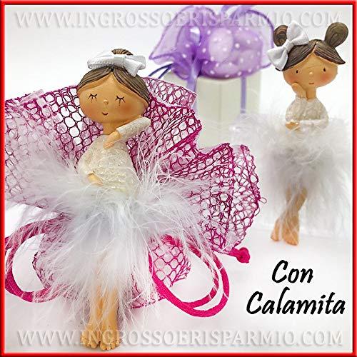 Ingrosso e Risparmio 12 Calamite in Resina a Forma di Ballerina con tutù di Piume Bianche, Idee Originali segnaposto, Piccole bomboniere Compleanno, Comunione Bambina (con Confezione Rosa)