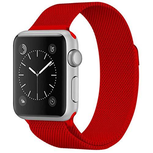 WeiYun Pulsera de Acero Inoxidable para Apple Muestra el Soporte metálico para Smart PM,Rojo