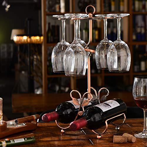 ワインホルダーワイングラススタンドホルダーワインとワイングラスの収納用独立式2ボトルと6個脚付グラス掛け(アンティークゴールド)