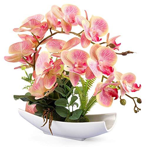 Yobansa Dekorative echte Berührung gefälschte Orchidee Bonsai künstliche Blumen mit Imitation Porzellan Blumentöpfe Phalaenopsis Blumenarrangements für Home Decoration (Pink 03)