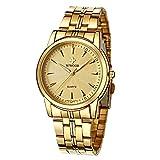 HopeU5 WWOOR Relojes para Hombre Reloj de Pulsera con Fecha de Acero Inoxidable a Prueba de Agua de Lujo Deportes Deportivos clásicos Relojes de Cuarzo analógicos (Oro)