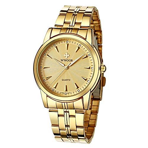 HopeU5 WWOOR Relojes para Hombre Reloj de Pulsera con Fecha de Acero Inoxidable a Prueba de Agua Deportes Deportivos clásicos Relojes de Cuarzo analógicos (Oro)