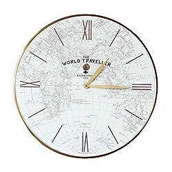 Thomas Kent 20 World Map World Traveler Wall Clock Glass Face with Aluminum Alloy Frame