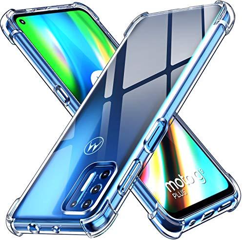 ivoler Funda para Motorola Moto G9 Plus, Carcasa Protectora Antigolpes Transparente con Cojín Esquina Parachoques, Flexible Suave TPU Silicona Caso Delgada Anti-Choques Case Cover