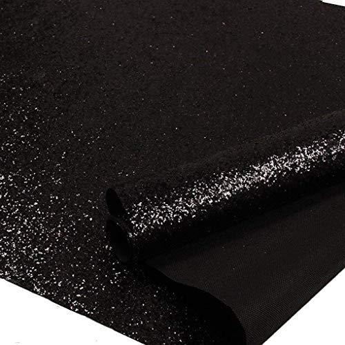 Self Adhesive Black Chunky Glitter Wallpaper, Sparkle Glitter Fabric (17.4in x 16.4ft, Black)