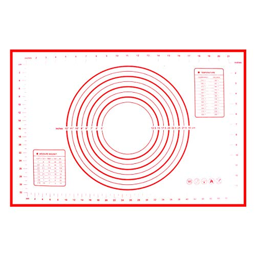thanksky Macaron Non-slip Silicone Baking Mat, Non-stick Pastry Mat With Measurements, Dough Rolling Silicone Mats For Baking (16'x24', red)