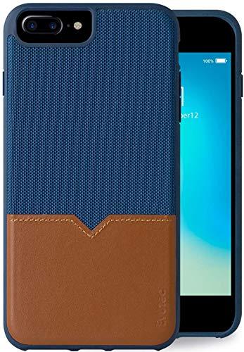 Evutec Compatible with iPhone 6 plus/6s Plus/7 Plus/8 Plus Unique Heavy Duty Case Leather + TPU Shockproof Interior Drop Protection Durable Stylish Phone Cover-Blue/Saddle (AFIX+Vent Mount Included)
