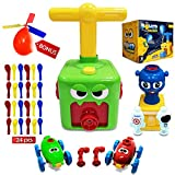 Balloon Launcher Powered Car Toy Green - Set of Cars & Space Rocket with Manual Air Pump and Bonus 24 balloons and helicopter kit for Kids Party Supplies Aerodynamics Science Preschoolers Boy Girl Racer Toys