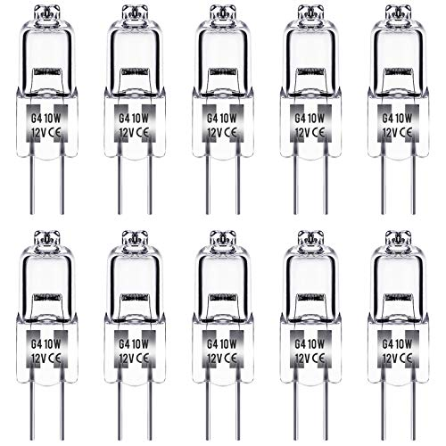 Halogenlampen, Techgomade Dimmbare G4 Halogenlampen, 10W Halogen-Stiftsockellampen, 3000K Warmweiß, 150LM, 12V, Kapsel Lampe für Innenbeleuchtung, Schlafzimmer, Kocher, Signallampe, 10 Stück