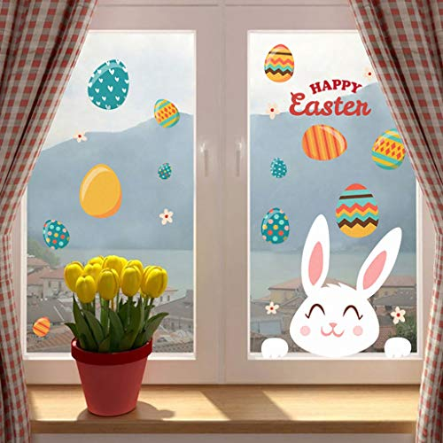 Ostern Wandtattoo, Selbstklebend Wand Aufkleber Wandsticker Fensterbilder, Happy Easter Wall Sticker Wall Decal DIY Ostern Deko für Kinderzimmer, Türen, Schaufenster, Vitrinen, Glasfronten