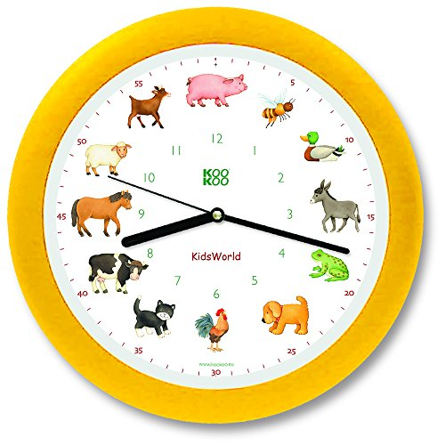 KOOKOO KidsWorld gelb, Bauernhofuhr mit 12 echten Tierstimmen, Quarzwerk