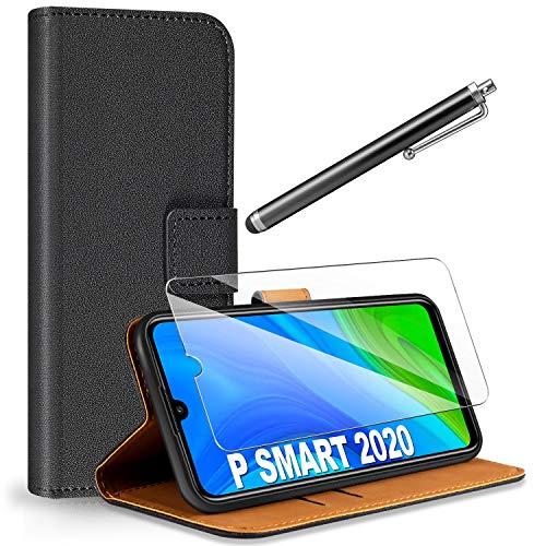 ivencase für Huawei P Smart 2020 Hülle Flip Lederhülle + Schutzfolie + Touch Stylus Pen, Book Hülle PU Leder Tasche mit Kartenfach & Magnet Kartenfach Schutzhülle für Huawei P Smart 2020 - Schwarz