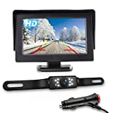 JPP HD Backup Camera and Monitor Kit, Car Rear View observation system, Newly Upgraded 4.3 Inch IPS FHD Color Display and a Waterproof Night Vision License Plate Reverse Camera for Car/RV/Truck/Pickup