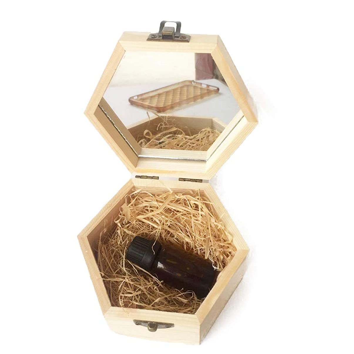 ギャザー削減効能あるアロマセラピーのエッセンシャルオイル木箱の品質収納ケース 香水フレグランス (色 : Natural, サイズ : 13X11.3X6.8CM)