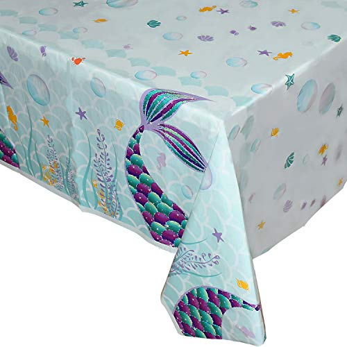 WERNNSAI Mermaid Table Cover - 71''×43'' Printed Plastic Tablecloth, Party Supplies for Kids Girls Birthday Wedding Pool Baby Shower Mermaid Themed Under The Sea Party Decoration
