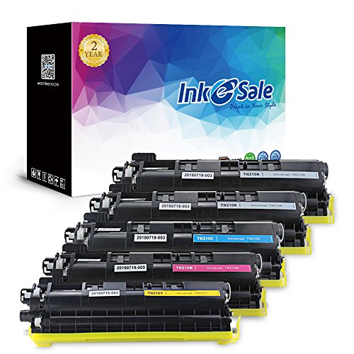INK E-SALE Compatible Brother Toner TN210 (2 Black/Cyan/Yellow/Magenta) Toner Cartridge Set for Brother HL-3040CN HL-3045CN HL-3070CW HL-3075CW MFC-9010CN MFC-9120CN MFC-9125CN MFC-9320CW MFC-9325CW