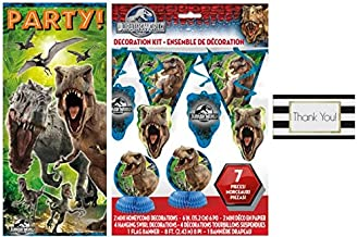 Jurassic World 7 pc Decoration Kit and 1 Door Poster, 2.25 ft x 5 ft by BT