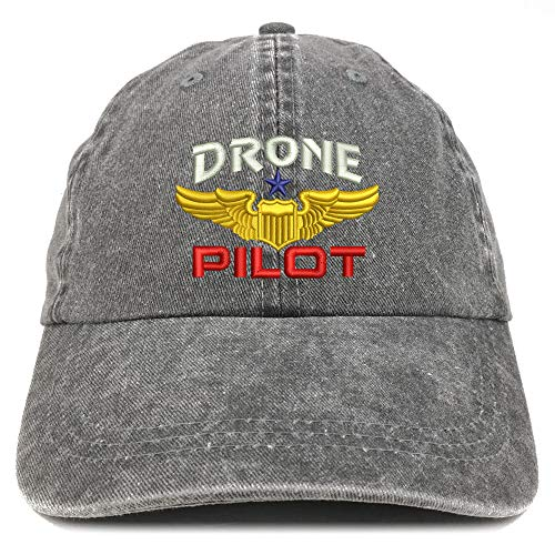 Trendy Apparel Shop Drone Pilot Aviation Wing Embroidered Cotton Adjustable Washed Cap - Black