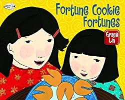 fortune cookie fortunes kids book with a cartoon mother and daughter and chinese fortune cookies on the front