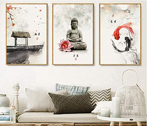 xtszlfj New Chinese Ink Flowers Buddha 3 Pieces Wall Art Print Picture Canvas Painting Poster for Living Room No Framed- 50x70cm no Frame