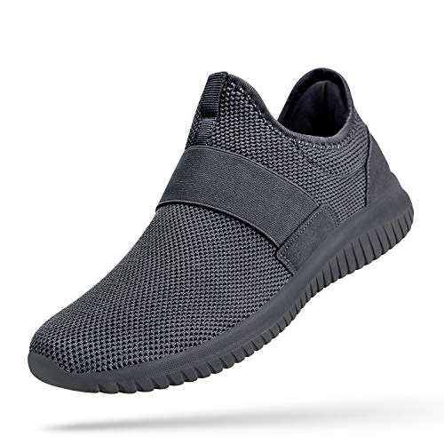 Troadlop Mens Non Slip Shoes Comfortable Running Walking Gym Shoes Male Laceless Sneakers Mesh Breathable Athletic Shoes 8 M US Dark Grey