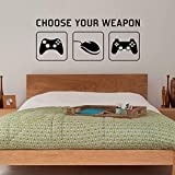 Radecal 'CHOOSE YOUR WEAPON' | Video Game Gaming Vinyl Decal Wall Sticker Mural - Kids Children Teenager Teens Bedroom, Man Cave Room Art Ideas Canvas Home Decor (PC, XBOX, PLAYSTATION Game Controllers) - 1 METRE