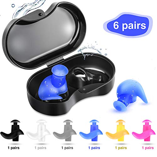 Swimming Earplugs, Waterproof Reusable Silicone Swimming EarPlug Surfing Soft Earplugs Noise Reducing Professional Earplugs for Water Sports Swimming Surfing Shower Water Skiing,6-Pairs Pack