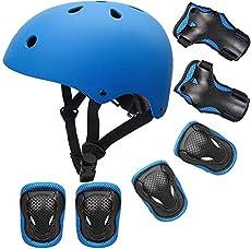 PHZ. Kids Adjustable Bike Helmet Toddler Helmet for Kids 3-8 Years Girls Boys, Sport Protective Gear Set Knee Elbow Wrist Pads for Roller Skating Skateboard BMX Scooter Cycling