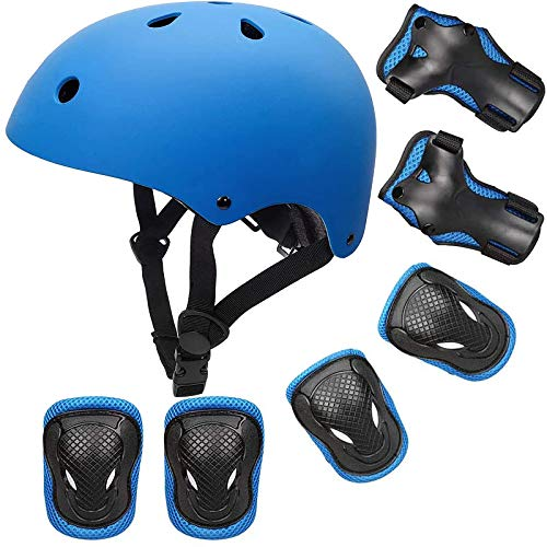 Wrist Protectors Elbow Pads Adjustable Cycling Helmet for Kids with Knee Pads Skateboard Helmet for Boys for 3~10 Years Kids Sports Protection Set