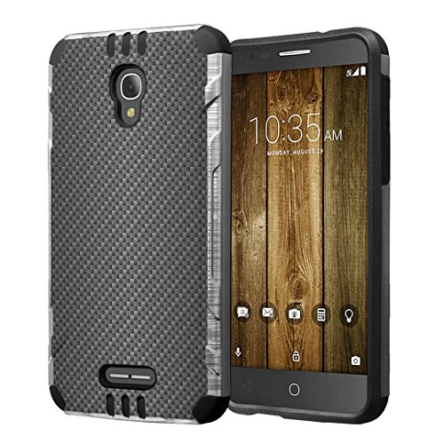 Alcatel Fierce 4 / Allura/Pop 4 Plus Case, Hybrid Dual Layer Silm Defender Armor Case (Silver & Black) Brushed Finishing for Alcatel Fierce 4 / Allura/Pop 4 Plus - (Carbon Fiber Print)