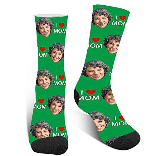 XJone Calcetines Personalizados con Cara,Calcetines Personalizados con Fotos,Personalizable Le amo a mamá Calcetines Divertidos para Mujer, cumpleaños, día de la madre regalo