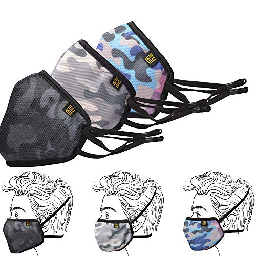 EUME Over head masks for women men Reusable breathable for Home Office Work Outdoor with behind head mask straps 3 Pieces (Grey/Black/Blue)