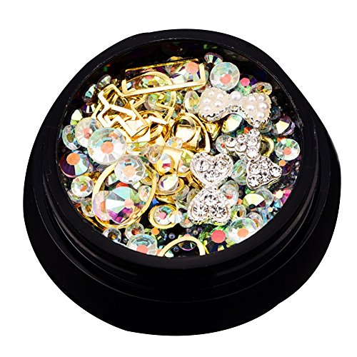 Juego de piedras de estrás para decoración de uñas, cuentas de cristales brillantes, decoración de uñas, cristales y gemas de diamante (oro)