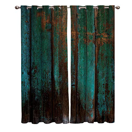 JNBGYAPS Blackout Curtains 3D Green paint and wood grain printing Thermal Insulated Curtains Eyelet Super Soft Window Treatment for Bedroom Window Decoration parlor bathroom 2 x 46.1 x 53.9 Inch